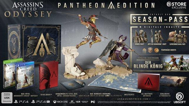Die Pantheon Edition ist die teuerste und größte Version von Assassin's Creed - Odyssey. Alle Inhalte präsentieren wir euch in der Bilderstrecke unten.