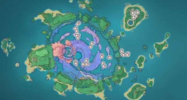 Die Karte zeigt euch alle Fundorte der Sango-Perlen auf Watatsumi.