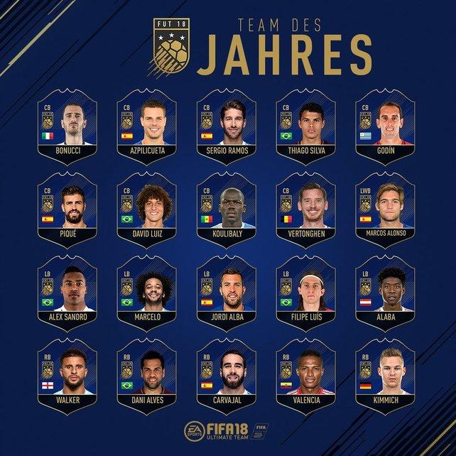 Die Auswahl der Verteidiger für das Team of the Year 2018.