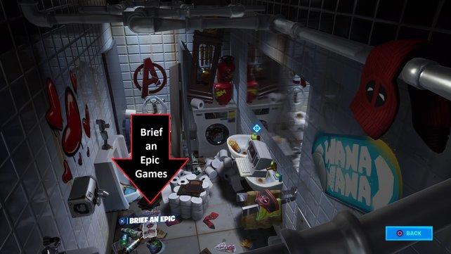 Trotz Müllhalde: Der Brief an Epic Games ist kaum zu übersehen.