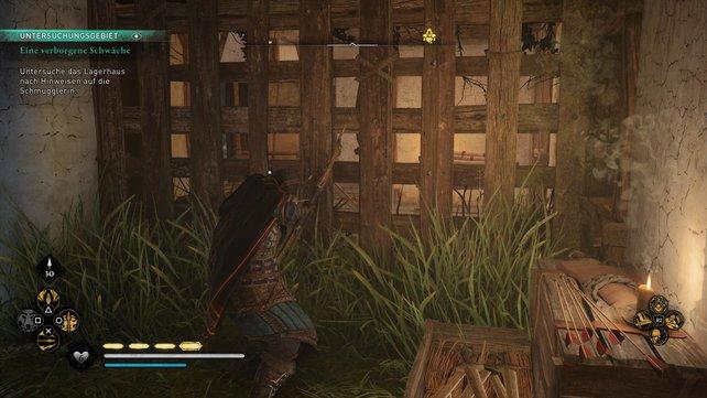 Zerstört die Kiste hinter dem Holzgitter, um dann das Hindernis vor der Tür beiseite schieben zu können.
