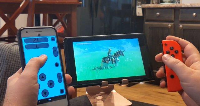Ganz bequem mit dem Handy auf der Switch zocken. Quelle: Reddit, benjaninja.