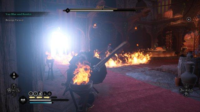 Erschafft Faravid einen Flammenkreis um sich herum, nimmt er einen Trank zu sich und setzt seinen Bogen gegen euch ein.