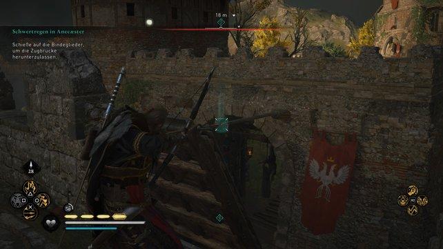 Klettert auf das Torhaus, tötet die Bogenschützen und zerschießt die Bindeglieder der Zugbrücke, um diese herabzulassen.