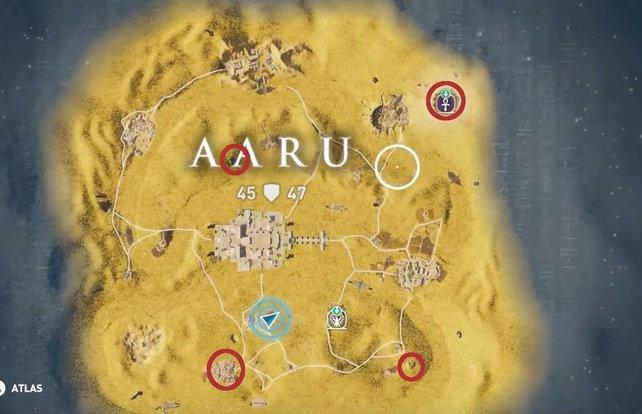 """Weit verteilt liegen die vier Stelen der Nofretete in Iaru. Ihr müsst alle lesen, wenn ihr den Schatz im DLC """"Fluch der Pharaonen"""" finden wollt."""