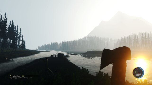 Eine wunderschöne Landschaft, ich, die Axt und irgendwo jede Menge Kannibalen.