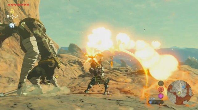 Die Kämpfe in Zelda - Breath of the Wild sind teilweise sehr fordernd.