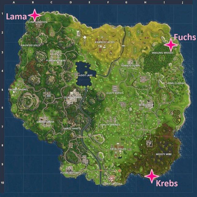 Wöchentliche Herausforderungen: An diesen Orten findet ihr das Lama, den Fuchs und den Krebs.