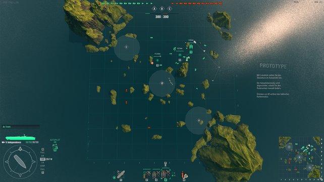 Obwohl ihr auch nah ranzoomen könnt, bleibt ihr als Träger-Kapitän lieber in der Strategie-Karte, wo ihr eure Flieger herumkommandiert.