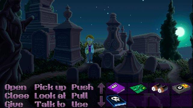 Dolores, einer der fünf spielbaren Charaktere, treibt sich auf dem Friedhof der Stadt herum.