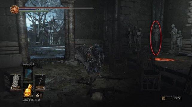 In der markierten Ecke steht der dunkle Pilger - tötet ihn nicht, wenn ihr das perfekte Ende der Questreihe von Anri von Astora erreichen wollt.