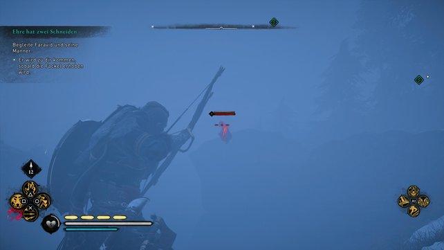 Indem ihr Odins Sicht einsetzt, könnt ihr die verborgenen Pikten selbst im Nebel erkennen und ausschalten.