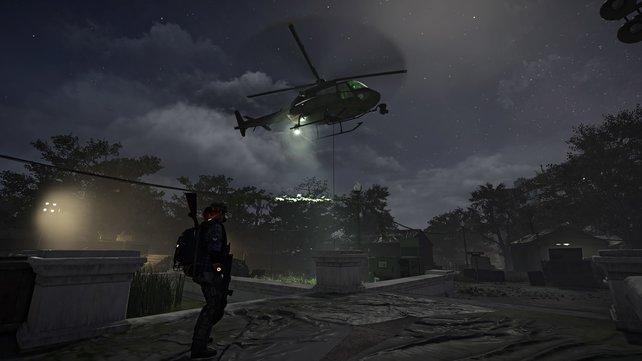 Am Abholpunkt in der Dark Zone könnt ihr euren Loot von einem Helikopter sichern lassen.