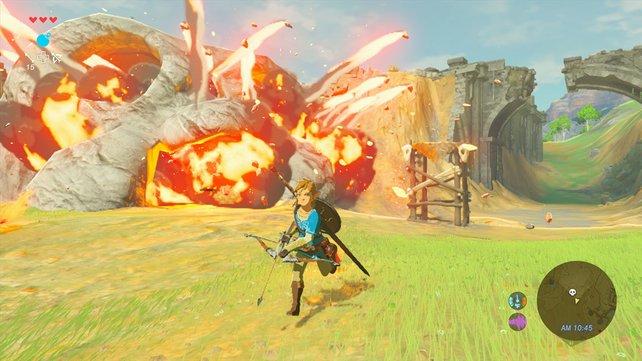 Feindliche Lager bekämpft ihr mit dem Schwert oder auch explosiven Pfeilen.