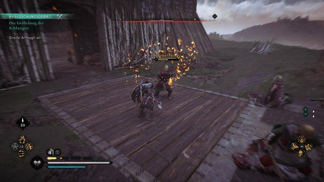 Stürmt ihr die Zugbrücke, so passt auf den Wolfshund-Meister mit seinem langen flammenden Schwert auf.