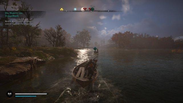 Ihr fangt die Königin ein, indem ihr dieser auf einem Boot folgt und ihren Fahrer mit eurem Bogen tötet.