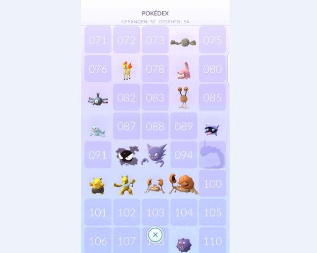 Pokédex: Die Silhouetten zeigen euch Pokémon an, die ihr gesehen, aber noch nicht gefangen habt.