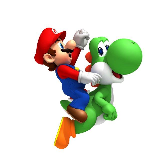 Yoshi ist kaum größer als Mario, trägt ihn aber sicher durch alle Gefahren.