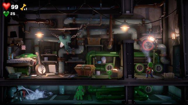 Nur mit Luigis Hilfe kann Fluigi das rote Juwel erreichen.