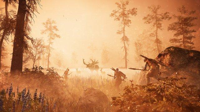 Eine Jagdgesellschaft auf der Großwildjagd in Far Cry - Primal.