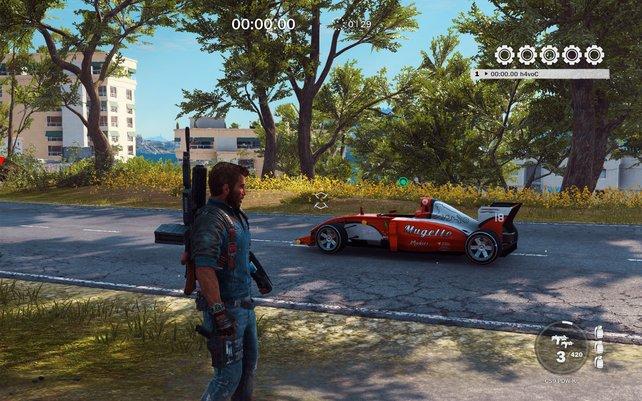 Mit dem F1-Auto in Just Cause 3 erreicht ihr jedes Ziel binnen weniger Sekunden - versprochen!
