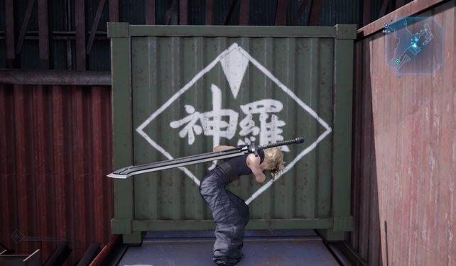 Schiebt den grünen Container bis ganz nach hinten. Dies müsst ihr tun, da ihr ansonsten nicht weiterkommt.