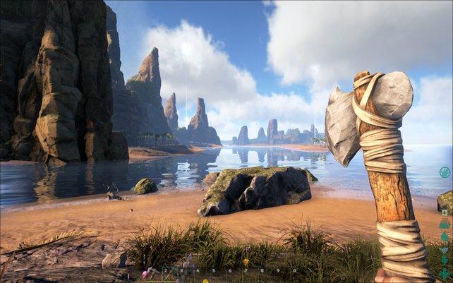 Neben der Spitzhacke könnt ihr euch in Ark - Survival Evolved früh eine derartige Axt bauen.