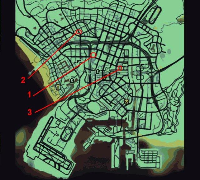 Die Orte, an denen die Musclecars stehen. Zum Vergrößern bitte auf die Map klicken.