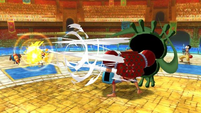 In der Arena prügelt ihr auf eure Gegner einfach nur ein. Simpel, aber spaßig.