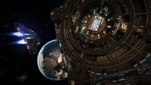 In Raumstationen in Planetenorbits tauscht ihr Waren gegen Geld.