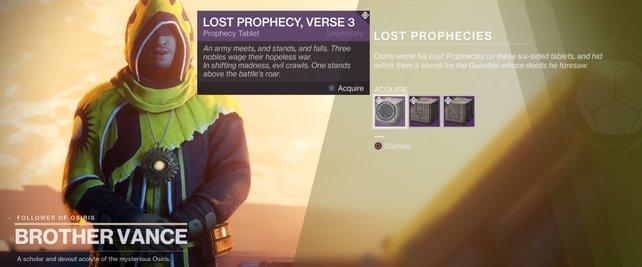 Nach dem ersten Auftrag könnt ihr weitere Verlorene Prophezeiungen annehmen und erfüllen.