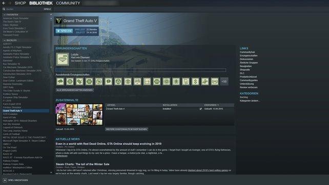 Eure Steam-Bibliothek ist auch auf dem Cloud-Rechner verfügbar.