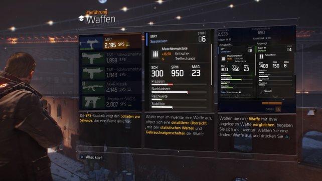 Bei Spielbeginn erhaltet ihr nützliche Informationen zu den Waffen.