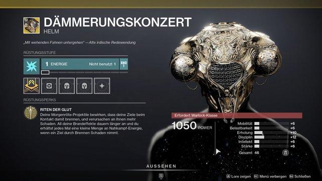 Exotischer Helm für Warlocks: Dämmerungskonzert.