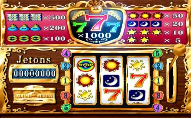 Das Bild zeigt die möglichen Gewinne am Huntert-Jeton-Spielautomaten in Baccarat.