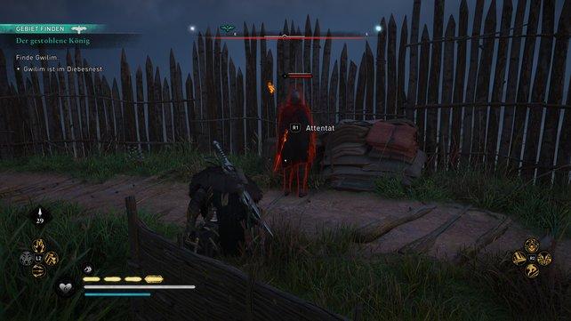 Klettert über eine der Aussichtsplattformen ins Banditenlager und schaltet im Inneren alle Gegner nacheinander aus.
