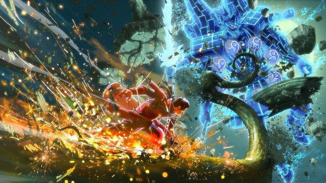Kampf zwischen Hashirama und dem Susanoo von Madara.