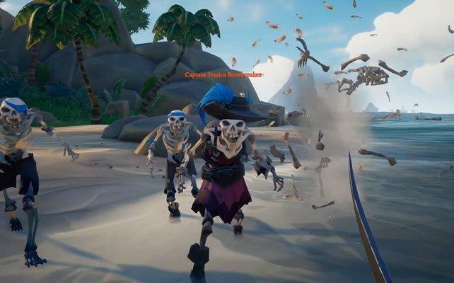 Erst wenn ihr unzählige Wellen von Feinden erledigt habt, werden Skelett-Kapitäne erscheinen, die euch bei ihrem Tod einen Schädelschlüssel überlassen.