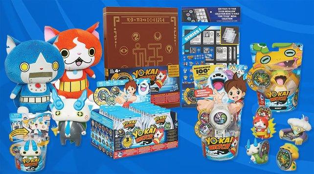 """Volle """"Yo-Kai""""-Produktpalette: Die knuffigen Geister-Wesen sollen den Markt eroebern."""
