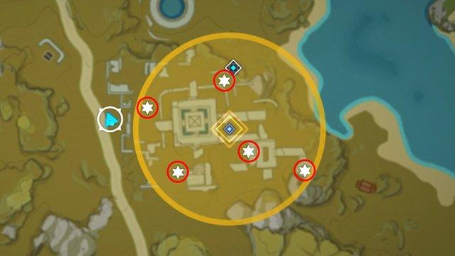 Die Karte zeigt euch die 5 Fundorte der Steintafeln in der Guili-Stätte ganz genau.