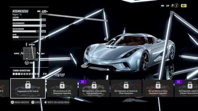 Das schnellste Auto im Spiel: der Koenigsegg Regera.