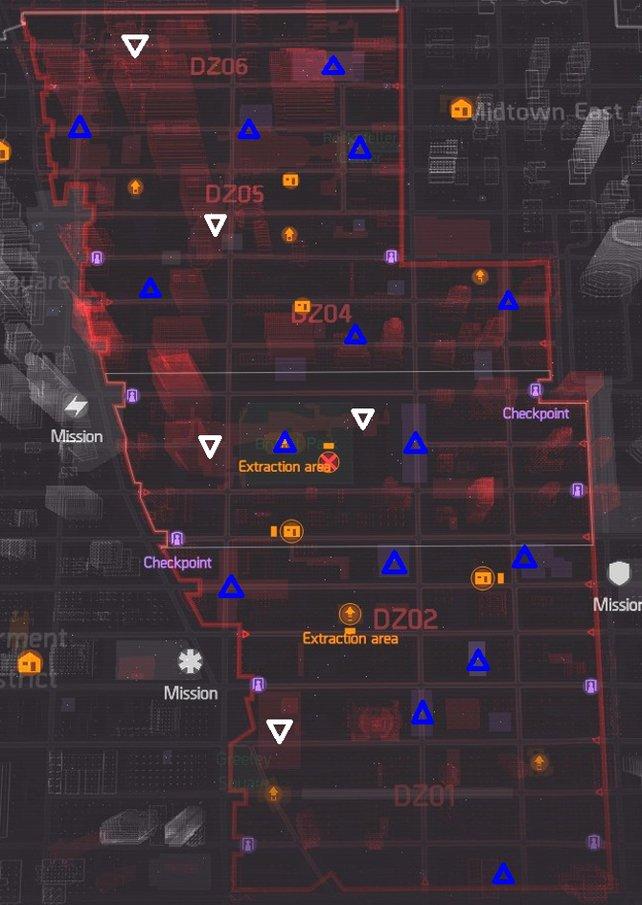 Die Karte mit allen Fundorten der Dark-Zone-Bosse von Reddit-User Khezekiah. Quelle: Reddit.com