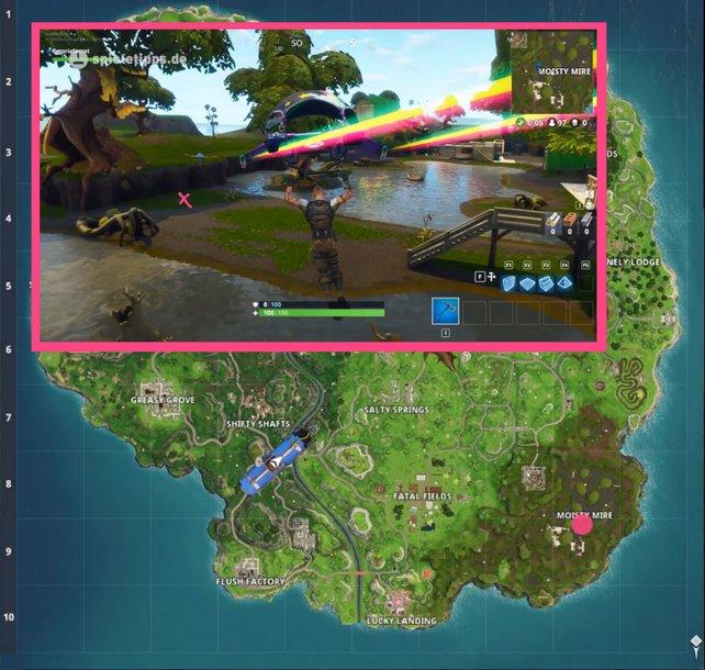 """Der pinke Kreis unten rechts markiert den Fundort zwischen Sitzbank, Eiswagen und Hubschrauber. Das kleine """"X"""" oben links zeigt euch genau, wo der Battle-Stern auftaucht."""