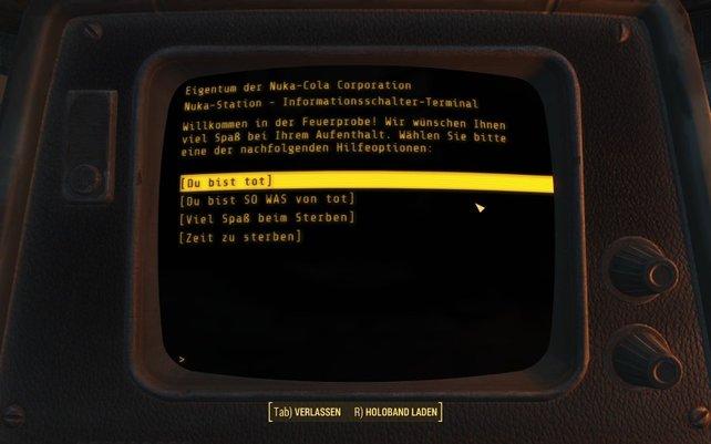 Die Raider verhöhnen euch auch auf dem Terminal, vor eurer gefährlichen Feuerprobe.