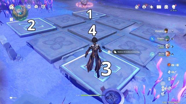 Drückt die Schalter in dieser Reihenfolge, um das Rätsel zu lösen.