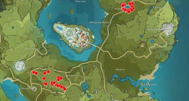 Die Karte zeigt euch einige Birkenholz-Fundorte in Genshin Impact.