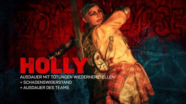 Holly ist der Charakter, der die Moral der Gruppe stärkt.