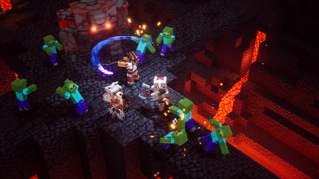 Minecraft Dungeons: Die Zeiten des Craften sind vorbei - jetzt wird gemetzelt.