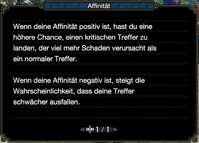 """Diese Erklärung liefert euch Monster Hunter Rise selbst zum Begriff """"Affinität""""."""