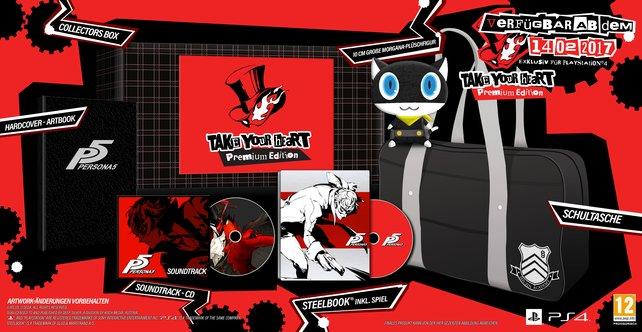 Die Sammlerausgabe von Persona 5 enthält Steelbook, Musik-CD, Plüsch-Anhänger, Illustrationsbuch und Schultasche.